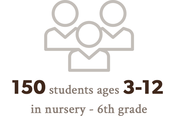 150 students ages 3-12 in nursery - 6th grade