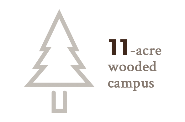 11-acre wooded campus