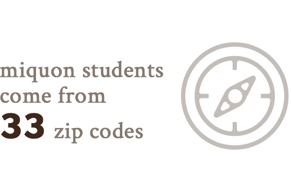 students come from 33 zip codes