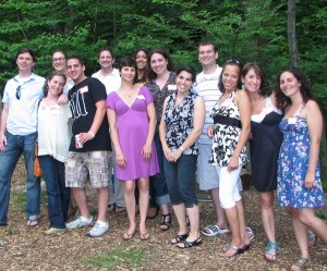Miquon Class of 1990 at their 20th reunion in 2010. Gabe Kuriloff is 5th from the left, in a white shirt.