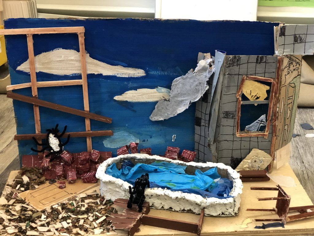 Miquon students' scale model of Bathtub and Cat by Angelo Pinto.